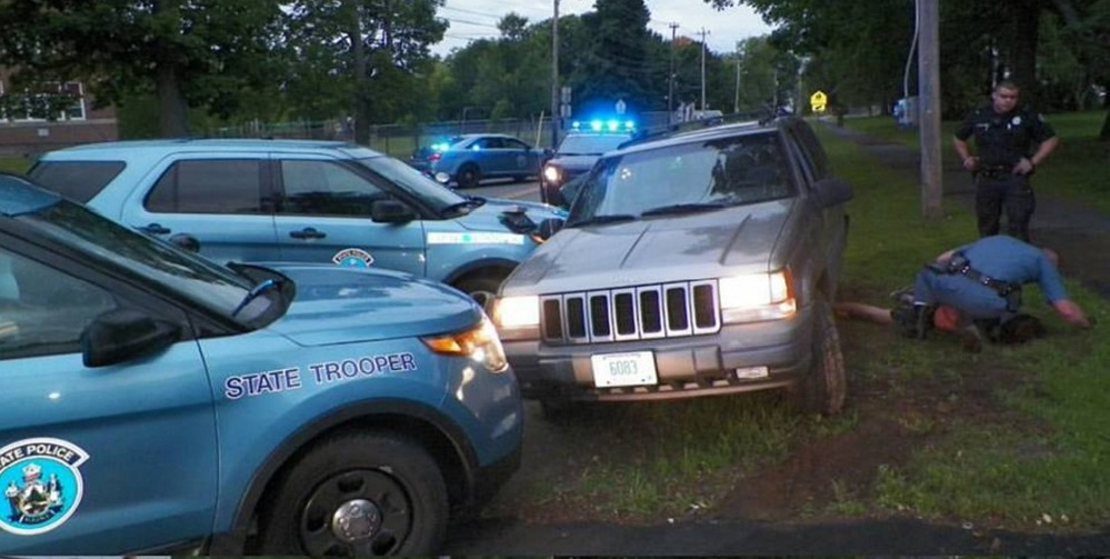 Police were led on a nearly 50-mile chase Tuesday on Interstate 95. Police used a precision immobilization technique in which a pursuing car bumps the fleeing car, causing it to go sideways, to bring the car to a halt on Broadway in Bangor, where police apprehended Christos Kassaras of Goffstown, New Hampshire.
