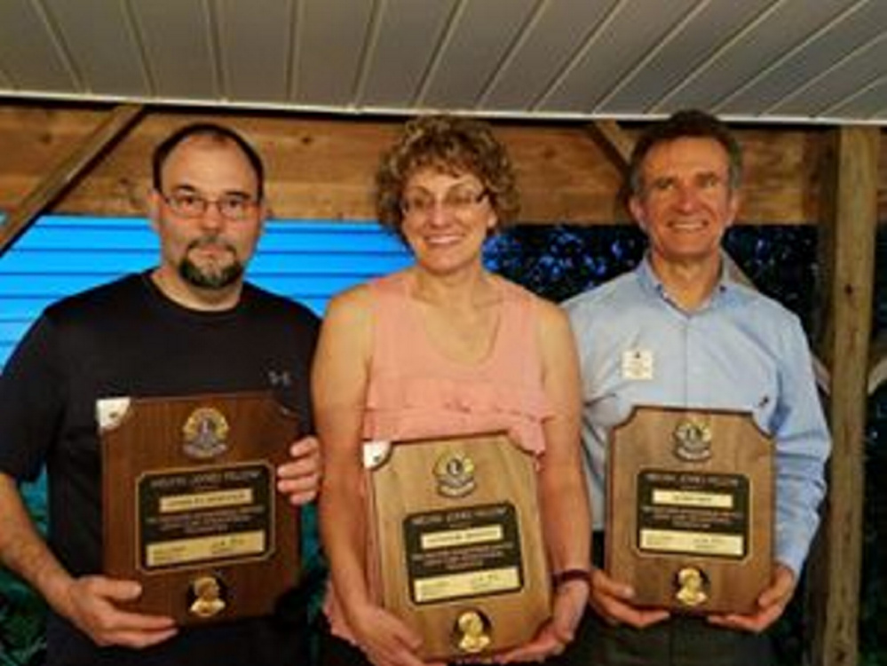 Melvin Jones Fellowship recipients, from left, are Chuck Worster, of Madison, Cathi Worster, of Madison, and Norm Hart, of Canaan.