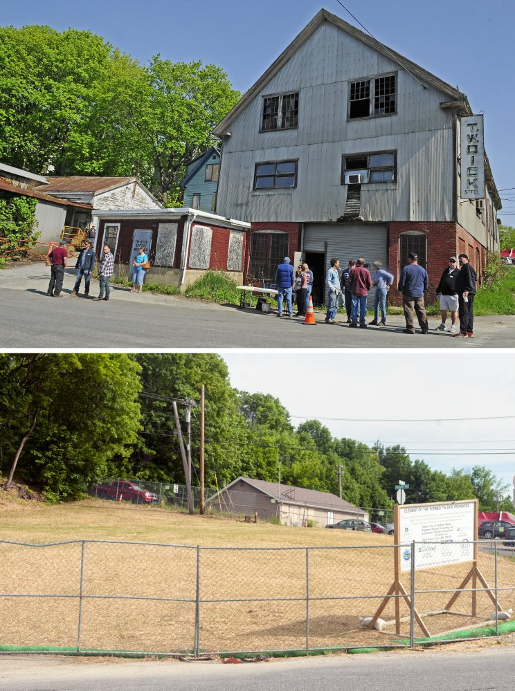 The top photo is from an auction held May 20, 2016, at the former T.W. Dick site in Gardiner; and the bottom photo is the same corner of Summer and Bridge streets, taken on Friday.