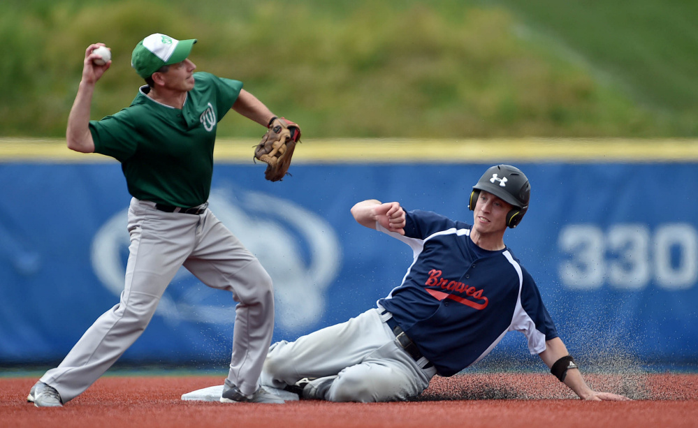 Central Maine second baseman Ken Walsh, left, turns a double play getting the out at second as Bethel's Josh Aylward (25) slides Saturday at Colby College in Waterville.