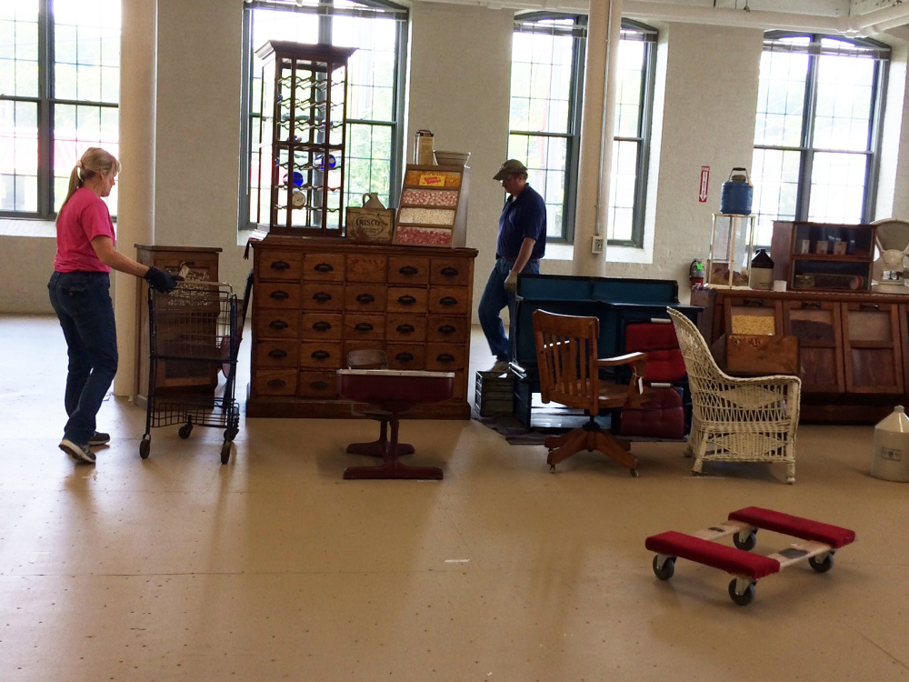Antiques dealers move their wares into the Hathaway Creative Center on Water Street in Waterville. Hathaway Mill Antiques, a sister to Brunswick Mill Antiques in Brunswick, is run by North River Hathaway, a part of the New York-based development company that bought the Hathaway complex for $20 million in February.