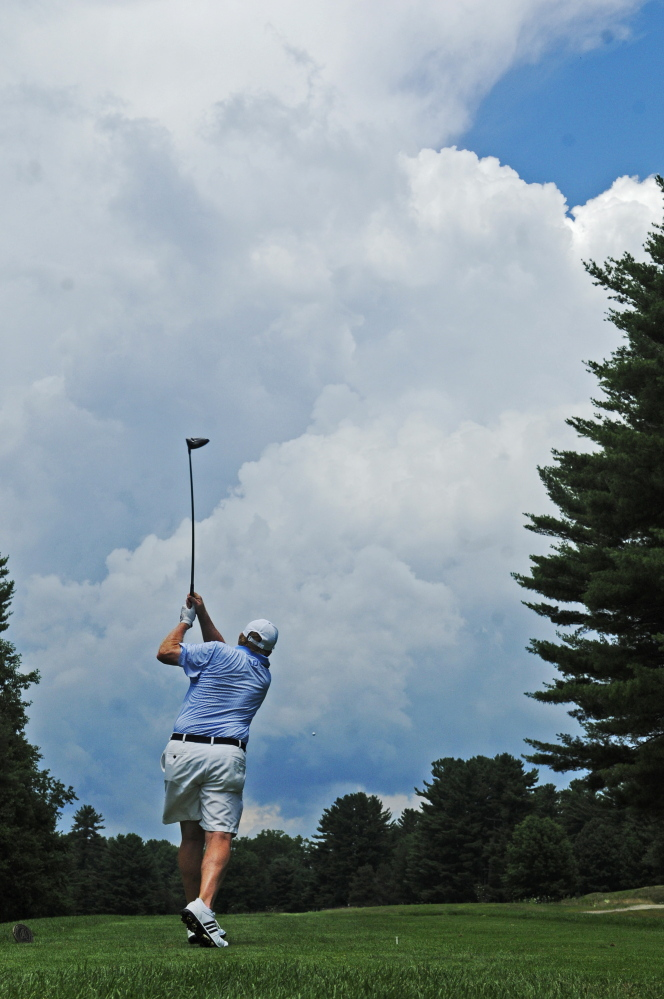 Mark Plummer tees of on 13th hole during the final round at the 2015 Charlie's Maine Open at the Augusta Country Club.