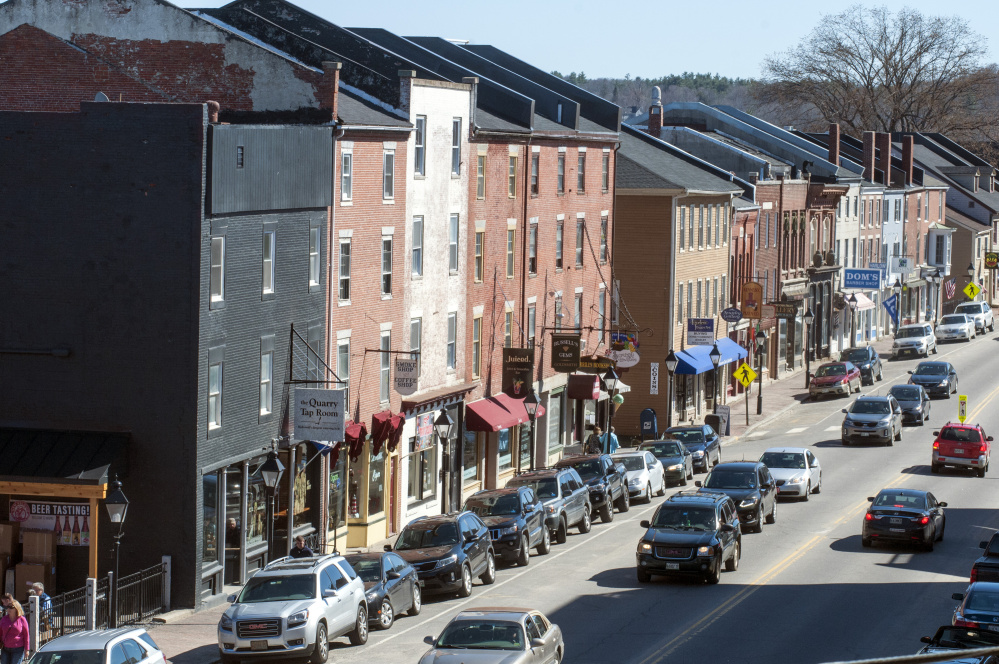 This April 14 photo shows Water Street in Hallowell, where officials say it might be necessary to revisit the noise ordinance to help businesses and residents co-exist peacefully.