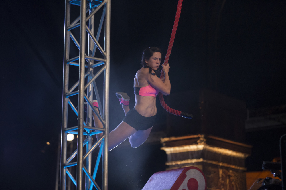 "Jesse Labreck, an Oakland native and Messalonskee High School graduate, competes during a Philadelphia Qualifier on ""American Ninja Warrior"" last year. Labreck is making a run at the title this year after she reached the Cleveland city finals."