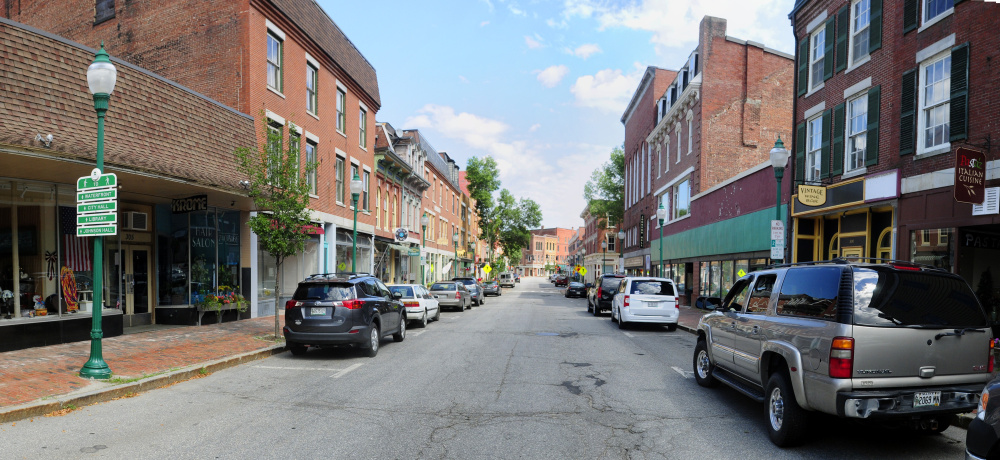 This August 2, 2016, photo shows Water Street in downtown Gardiner. The City Council is scheduled to meet Wednesday to consider how to make up for the loss of $60,000 in revenue that it thought it would get from the state.