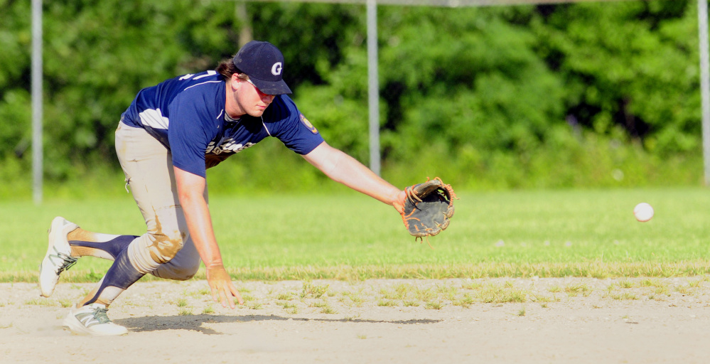 Gardiner shortstop Ryan Kappelmann lunges for a line drive during an American Legion Zone 2 game against Gardiner on Tuesday at Hoch Field in Gardiner.