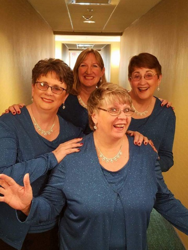Four members of Mainel-ly Harmony, clockwise, from left, are Jan Flowers, Cathy Anderson, Sue Staples and Anne Danforth — Heart 'n Soul!