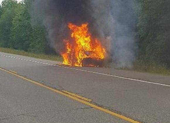 A Fairfield man's vehicle burst into flames Thursday along Route 3 in Liberty.