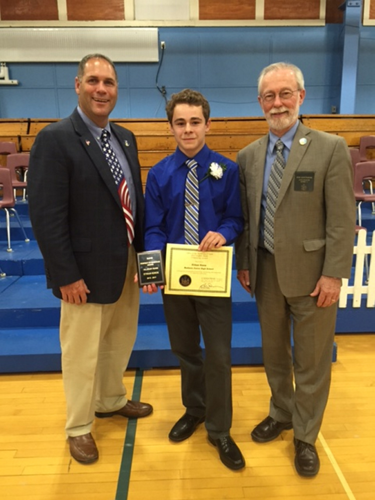 Madison Junior High School student Ethan Stone was presented the Secretary of State's Eighth Grade Citizenship Award on June 13 by Sen. Rod Whittemore, R-Skowhegan, and Rep. Brad Farrin, R-Norridgewock. From left are Farrin, Stone and Whittemore.
