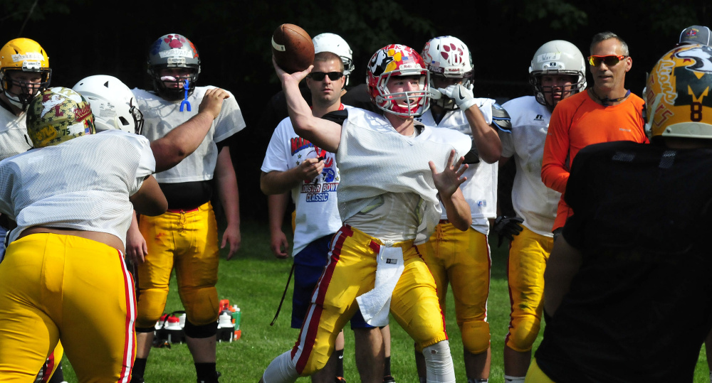 East team quarterback Taylor Heath throws during practice for the Lobster Bowl on Tuesday at Dover-Foxcroft.
