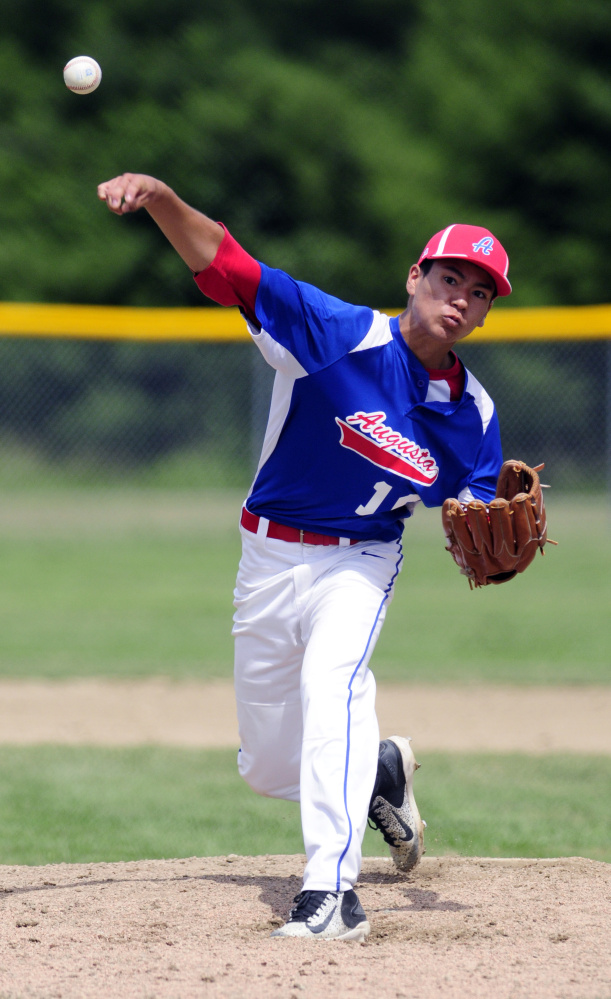 Augusta's Akira Warren pitches against South Portland during a 14U Babe Ruth All-Star game Friday at McGuire Field in Augusta.