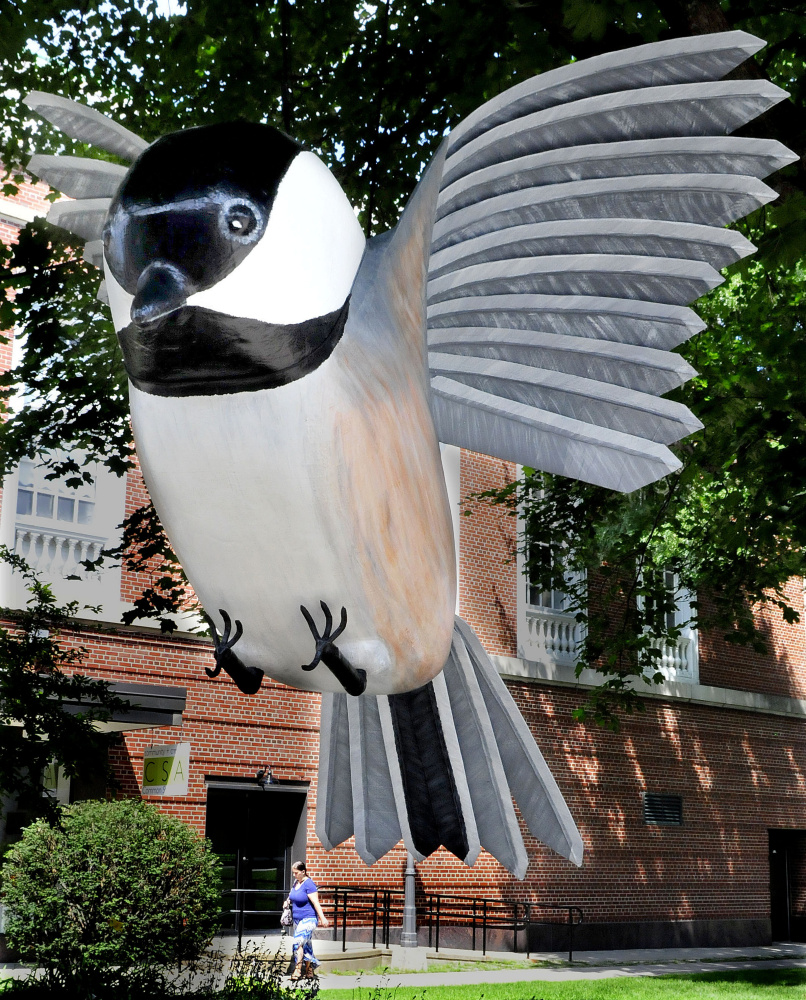 A pedestrian appears to walk under the claws of a giant sculpture of a flying chickadee hanging from a tree Tuesday in Castonquay Square in Waterville. The sculpture was designed and made by Laurel McLeod for the Maine International Film Festival.