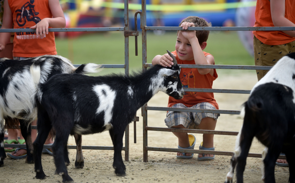 Nathan Cochran, 8, pets a goat at the petting zoo during Oakfest near Williams Elementary School in Oakland on July 23, 2016. The 2017 version of Oakfest kicks off on Friday.