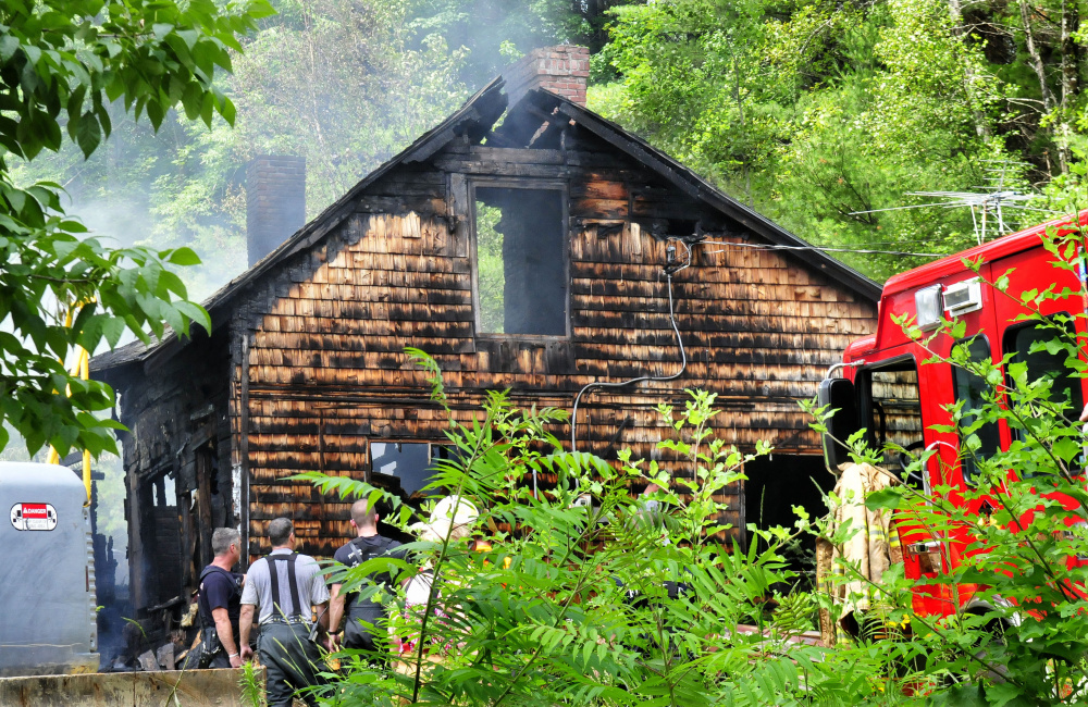 Firefighters from several Somerset County departments went to fight a fire Tuesday that destroyed the home at 28 Quincy Wood Road in Anson.