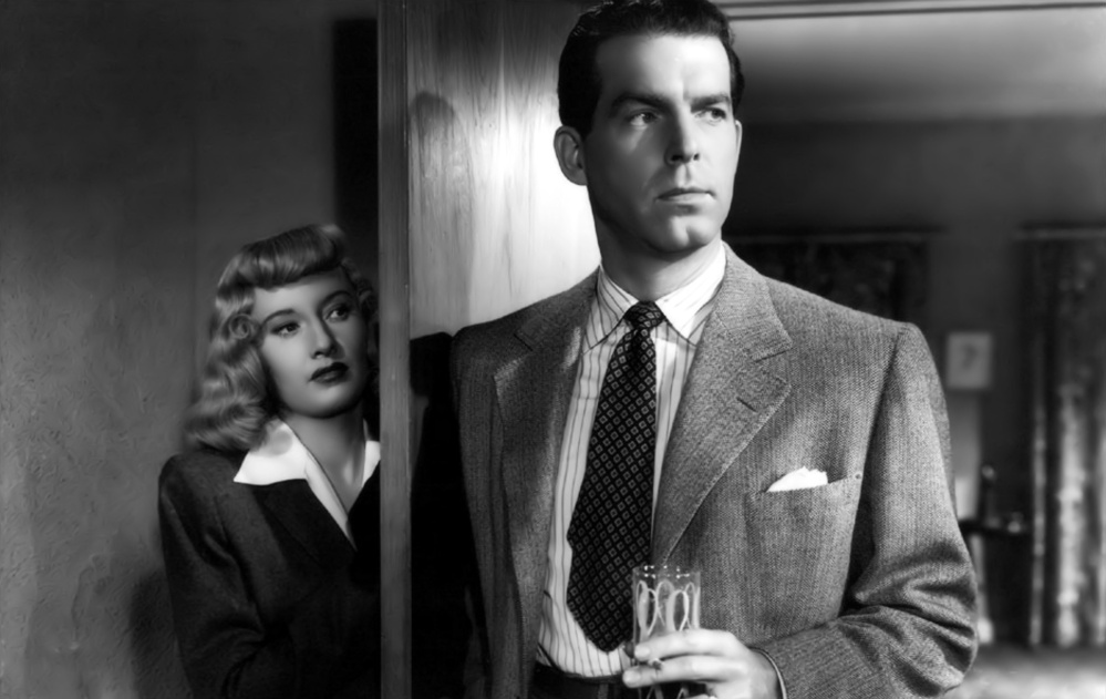 "Barbara Stanwyck and Fred MacMurray in ""Double Indemnity."""