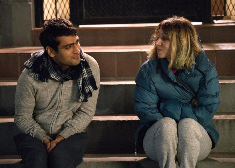"Kumail Nanjiani, left, and Zoe Kazan in ""The Big Sick."" The film is playing at area theaters."