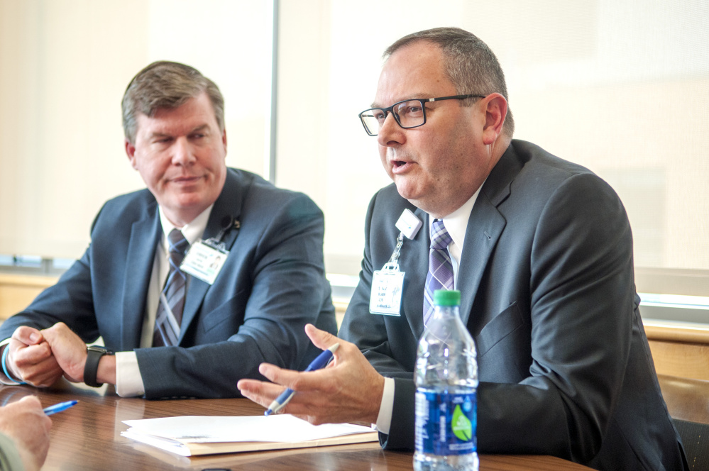 President and Chief Executive Officer Chuck Hays, left, and Chief Financial Officer Terry Brann answer questions about the hospital system's finances during an interview on Thursday at MaineGeneral Medical Center in Augusta.