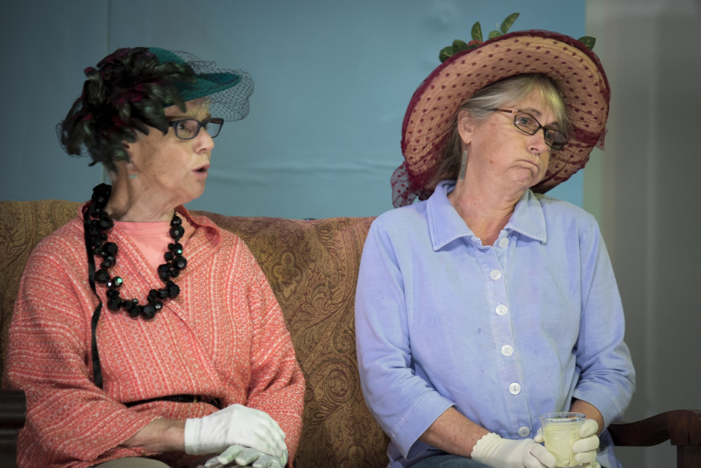 """Muffy Floyd, left, rehearses on Monday her role as Miss Sara Arnold, and Maggie Chadwick plays Miss Cora Kenyon in """"Doctor's Orders,"""" a play showing Thursday through Saturday at the Union Hall in Vienna."""