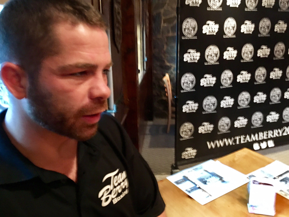 Brandon Berry talks during a press conference Tuesday in Skowhegan. Berry, who has spent his career in the ring, is instead promoting Saturday's card while recovering from a shoulder injury.