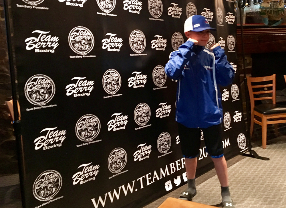 Staff photo by Travis Barrett Braden Littlefield poses during a press conference Tuesday in Skowhegan. Littlefield, an 11-year old East Benton native, will fight Nelson Torino of Lynn, Massachusetts.