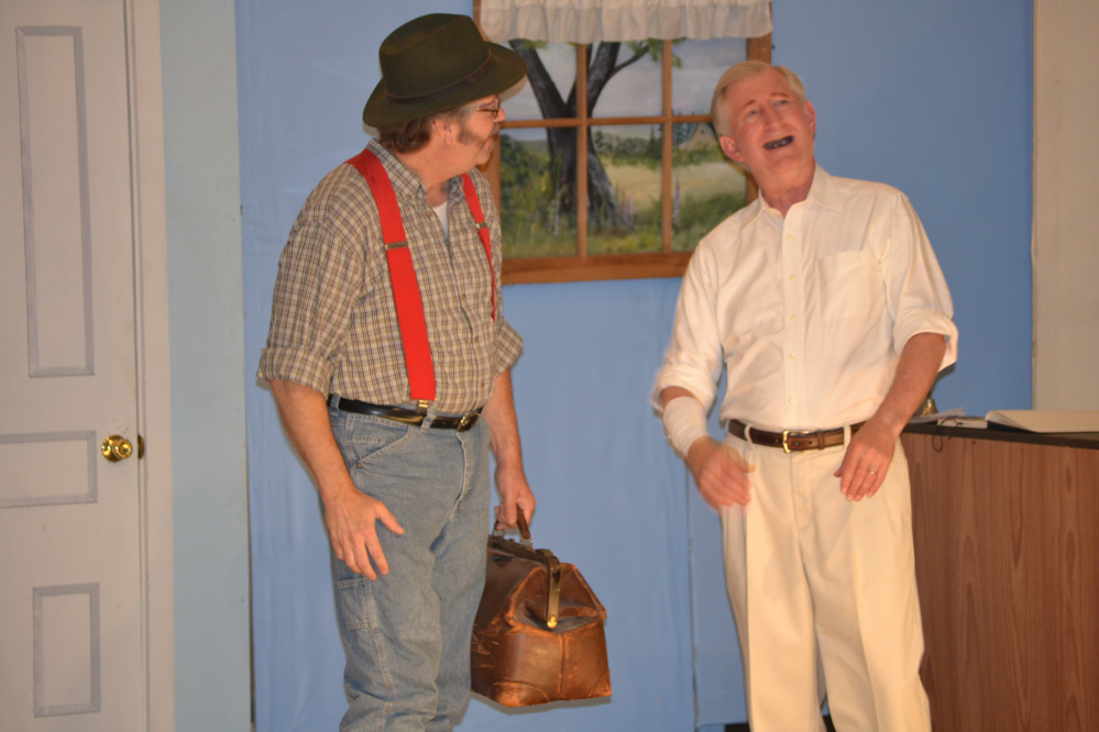 Chris Crocker and Don Peterson ham it up in a previous production of a Vienna Historical Society play.