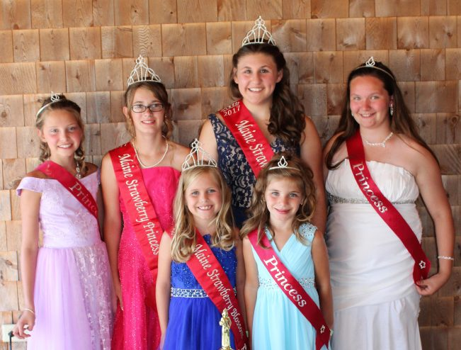 The Maine Strawberry Pageant was held last weekend at the Pittston Fair. The winners were crowned on Sunday afternoon were, in back, from left, Lily Belanger, of Pittston, Princess runner up; Emmalee Donahue-Ripley, of Whitefield, 2017 Maine Strawberry Princess; Kami Collins, of Pittston, 2017 Maine Strawberry Queen; Deanndra Kalloch, of Whitefield, Miss Congeniality. In front, from left are Claire Laverdiere, of Dresden, 2017 Maine Strawberry Blossom; Kiley Hutchinson, of Pittston, Strawberry Blossom runner up. The pageant winners will spend the next year representing Pittston Fair and the community at various events.