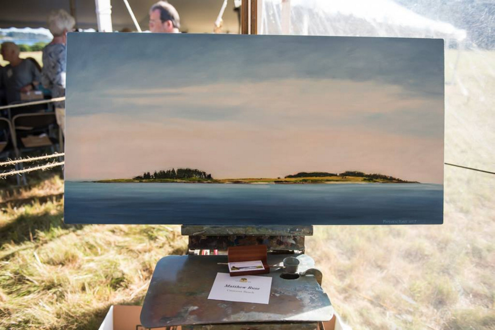 Waterville artist Matthew Russ painting of Richmond Island named People's Choice in 2017 Paint for Preservation Wet Paint Auction.