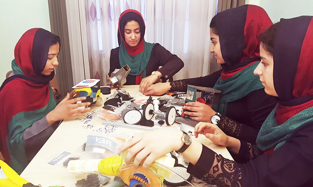 Teenagers from the Afghanistan Robotic House, a private training institute, practice at the Better Idea Organization center, in Herat, Afghanistan, on July 6, 2017. President  Trump intervened to allow a group of six female students into the country to participate in a robotics competition.