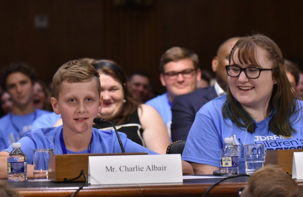 Charlie Albair of Gray testifies about the importance of finding a cure for diabetes before a committee chaired by U.S. Sen. Susan Collins, R-Maine, on Wednesday.