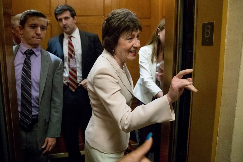 Sen. Susan Collins, R-Maine gets in an elevator as she arrives on Capitol Hill in Washington on Tuesday. Collins was among the senators who said they couldn't support a bill to repeal the Affordable Care Act without a replacement in place.