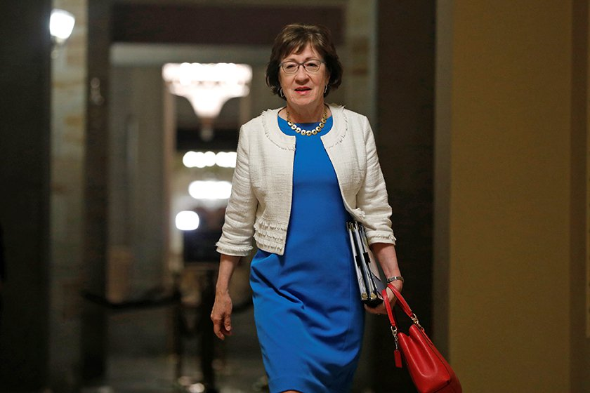 """Sen. Susan Collins  walks to the Senate floor ahead of a vote on the health care bill on Capitol Hill. She cast a key vote blocking the so-called  """"skinny"""" repeal of the Affordable Care Act."""