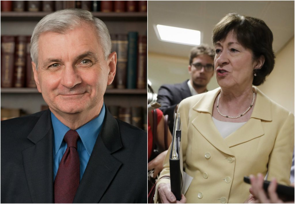 Sen. Jack Reed, a Democrat from Rhode Island, left, and Republican Sen. Susan Collins were caught on a microphone commenting about President Trump and others.