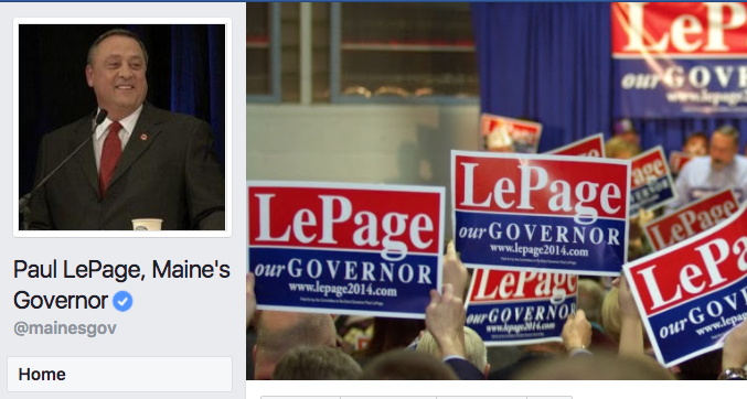 Detail of Gov. Paul LePage's Facebook page.