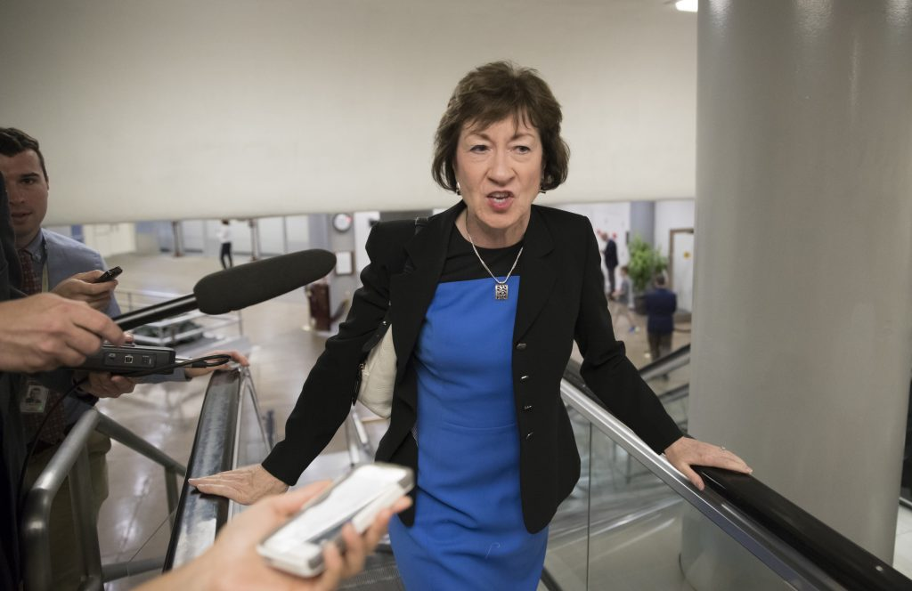 File photo: Sen. Susan Collins, R-Maine, on Capitol Hill on Thursday, headed to a meeting on the revised Republican health care bill.