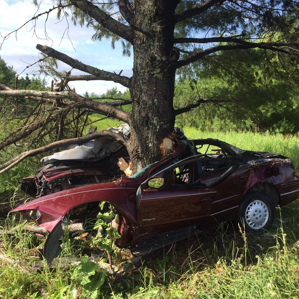 A 16 year-old driver from Washburn was driving on New Dunntown Road in Wade at a high speed Saturday morning when he lost control and crashed head-on into this large tree, according to state police.