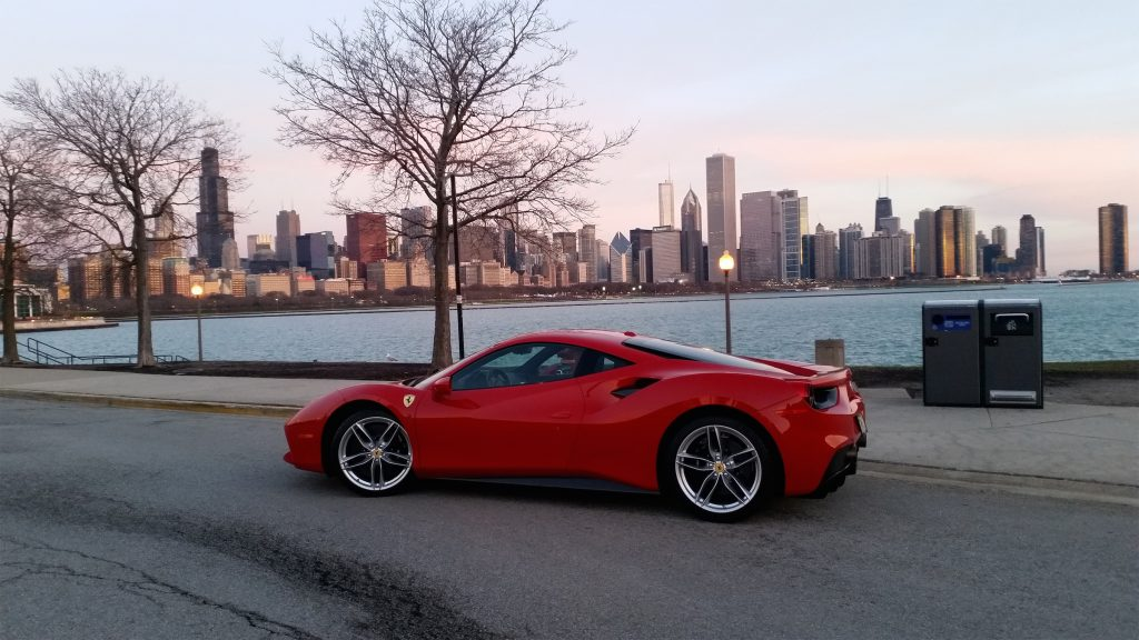 The Ferrari 488 GTB is a 3.9-liter twin-turbocharged V-8 engine supercar that starts at $245,400.