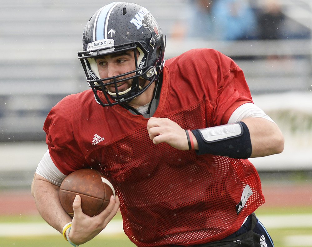 Quarterback Drew Belcher, who has started nine games for the University of Maine, is one of four players vying for the starting spot for the Black Bears.