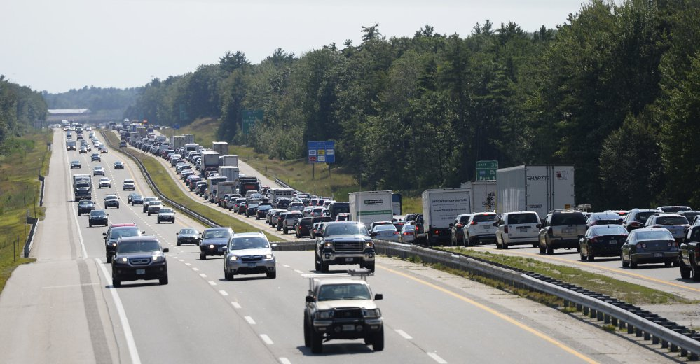 Southbound traffic is backed up on the Maine Turnpike after a crash Friday in Saco.
