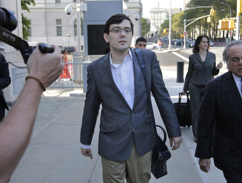 Martin Shkreli arrives at federal court in New York on Thursday, where a jury found him guilty on three of eight counts of federal securities fraud.