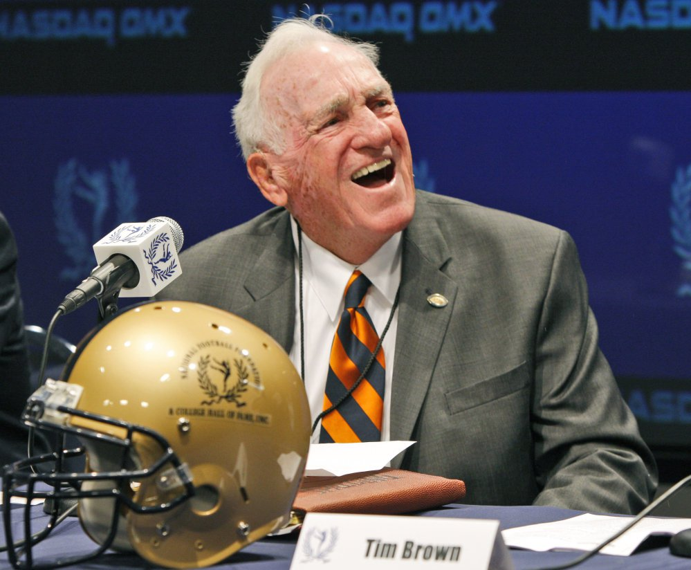 Dick MacPherson laughs during the announcement of the 2009 College Football Hall of Fame class in New York on April 30, 2009. MacPherson, a native of Old Town, Maine, died Tuesday at age 86.