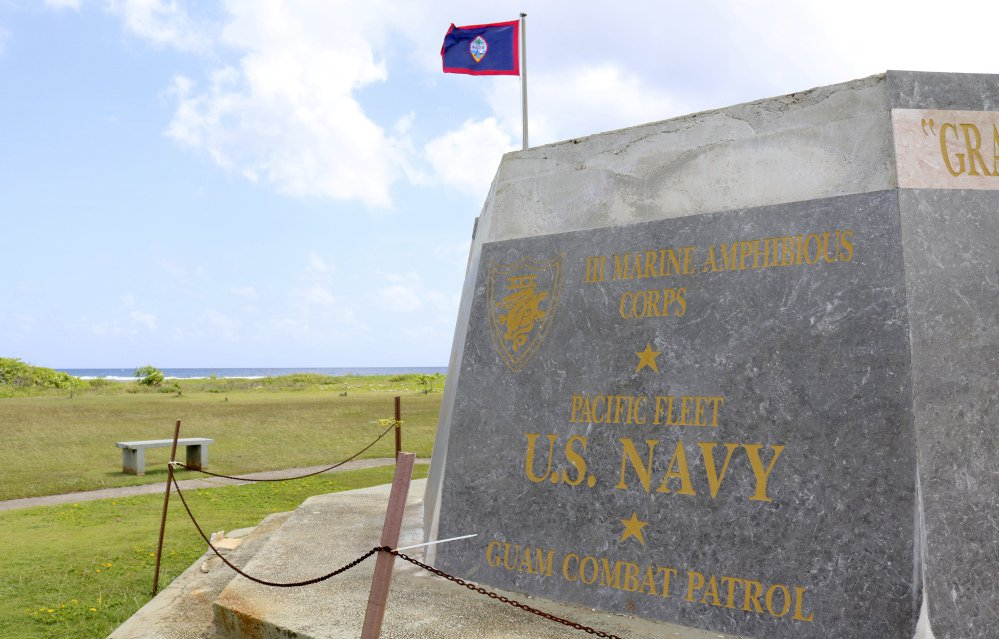 A memorial is seen at the War in the Pacific National Historical Park near Hagatna, Guam. The island serves as a launch area for the U.S. military.