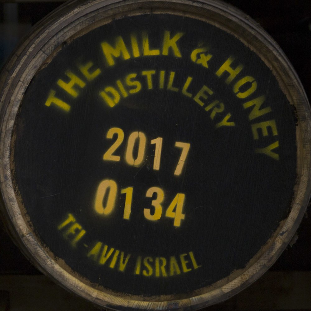 Whiskey barrels are seen at the Milk & Honey Distillery in Tel Aviv, Israel.