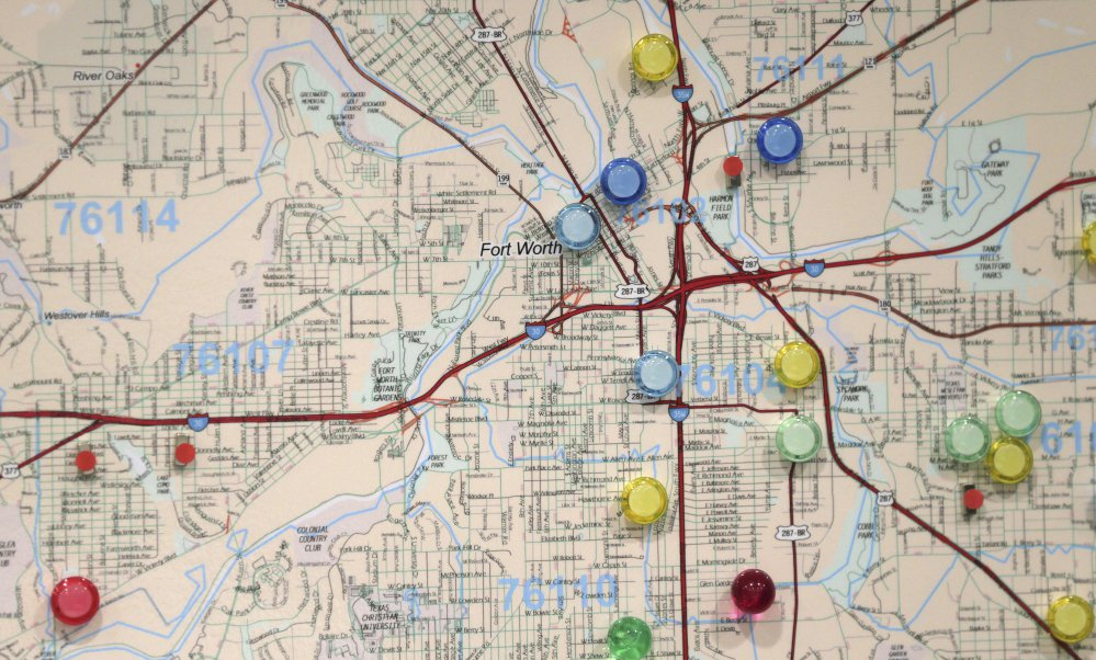 Using a model based on 10 factors like domestic violence or sexual assault, the 'risk terrain maps' focus on why abuse happens, not where it happened before. The colored pins show churches in high-risk areas of Fort Worth, Texas, that might be able to help prevent abuse.