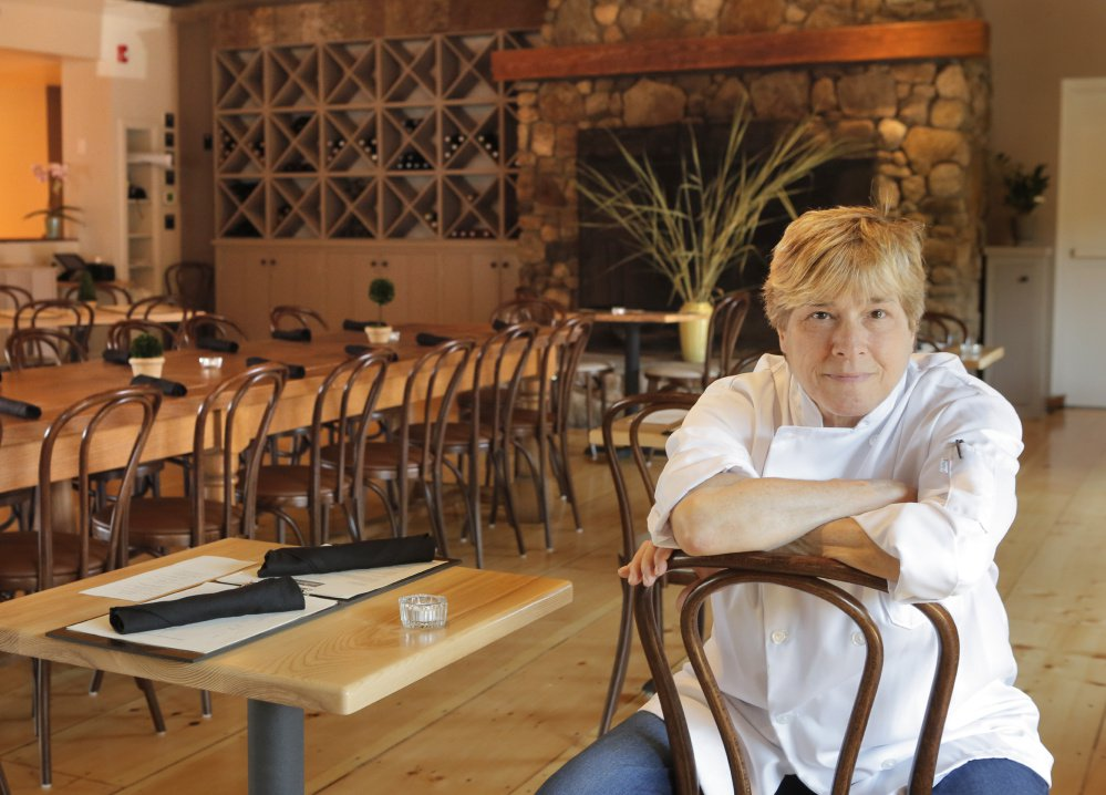 Rebecca Charles in the dining room of her restaurant, Pearl Kennebunk Beach, which opened Aug. 5.