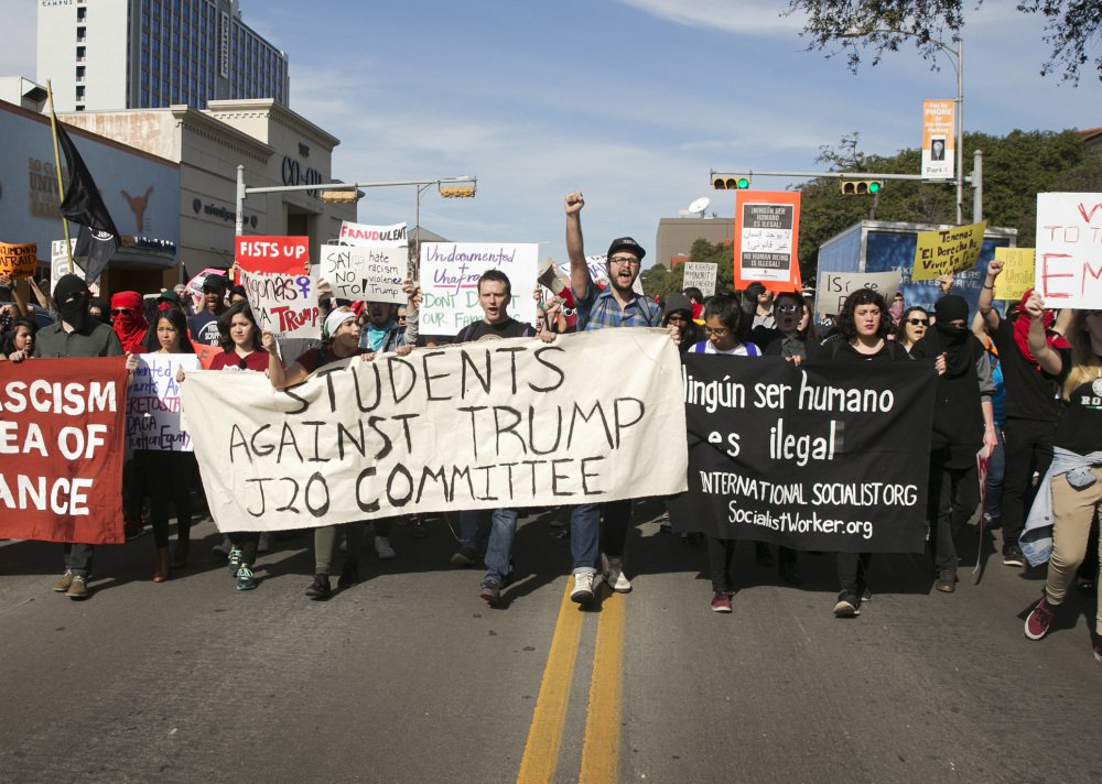 Anti-Trump protesters block traffic on a street in Austin, Texas, in January, one of many such demonstrations that Republicans are seeking to prevent.