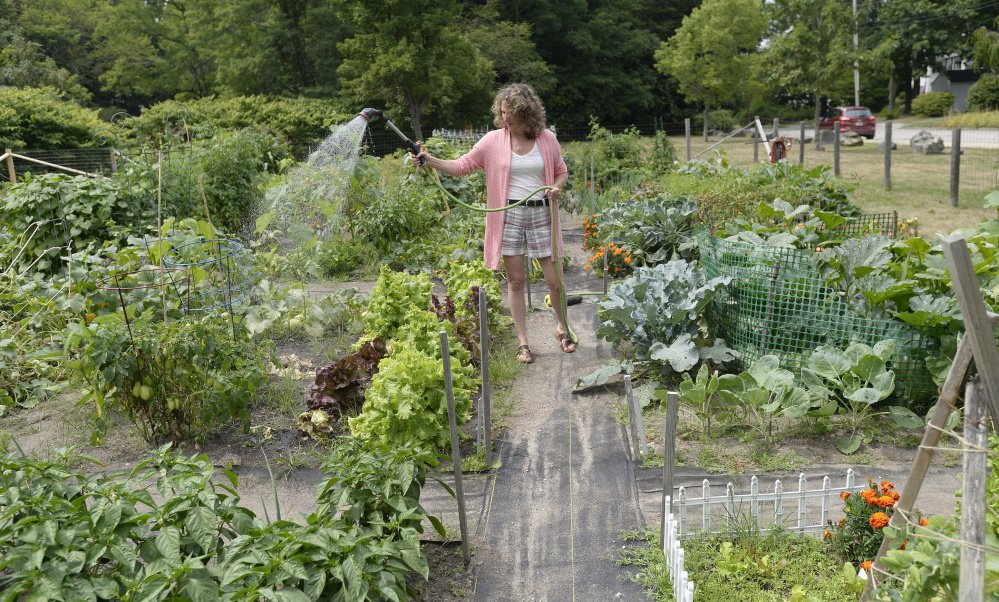 Jodi-marie McCarthy of Saco waters her garden plot at the Saco Community Garden.