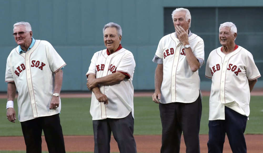 They played on the Red Sox team that not only won the pennant in 1967, but turned around baseball in Boston. On Wednesday they reunited at Fenway. Left to right are Ken Harrelson, Rico Petrocelli, Jim Lonborg and Carl Yastrzemski.