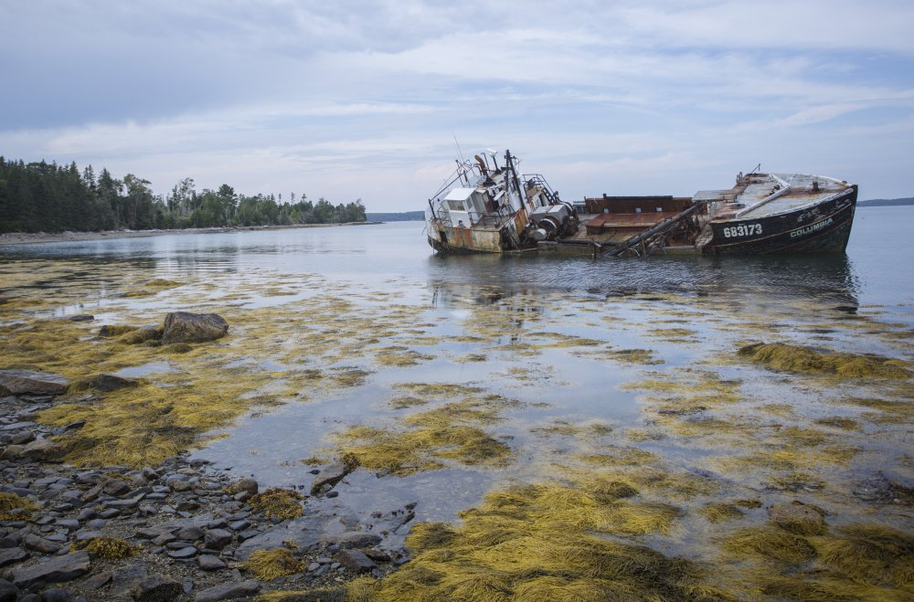The Columbia sits stranded off Louds Island where it drifted aground after breaking free from its mooring last fall. This summer, another fishing boat was abandoned nearby, causing some residents to worry the area could become a vessel dumping ground.