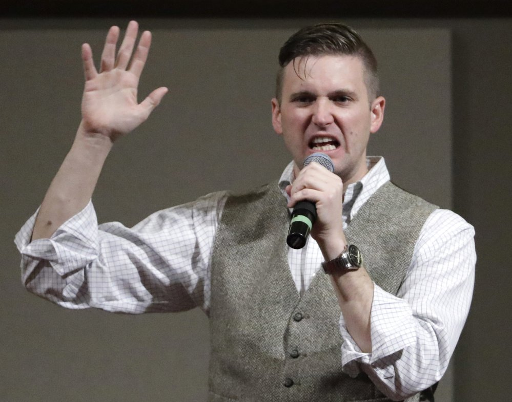Richard Spencer, who leads a movement that mixes racism, white nationalism and populism, speaks at Texas A&M University last year. Associated Press/ David J. Phillip
