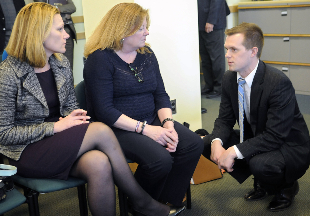 Rep. Jared Golden at the Statehouse in 2015 with vice presidents of Volunteers of America, Melissa Morrill, left, and Julia Wilcox. Golden is the fifth and, so far, most prominent Democrat to enter the 2nd District race against Poliquin.